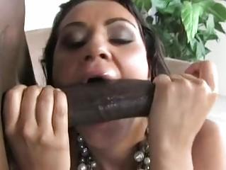 Schlong sucking dark brown slut gets biggest darksome cock up her bushy minge