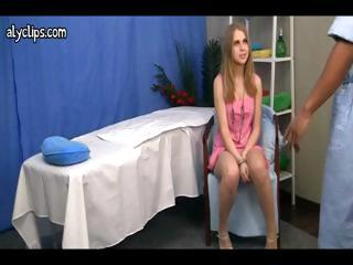 Cute blond with a worthy ass goes in for massage and receives fucked