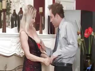 Horny blonde granny sucking and fucking hard young pecker and getting a facial