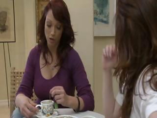 Two lustful brunette MILF's have tea party and lick every others pussy