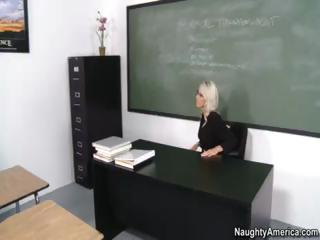 Golden-haired Emma Starr is the teacher who teaches student about sex