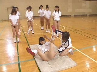Asian Teens With Bushy Pussies and Hot Asses Stretch During Gym Class