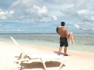 Super Hawt Oriental Babe Momo Sucks and Fucks a Cock on the Beach