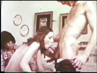 Hot Retro Porn Threesome with Creampie Ending