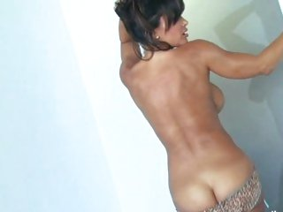 Sexy Lisa Ann playing with her hard blue dildo