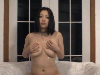 Lustful Oriental MILF Minako Komukai Masturbates in Sexy Black Underware
