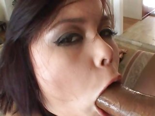 Seductive Annie Cruz throat fucks a throbbing boner