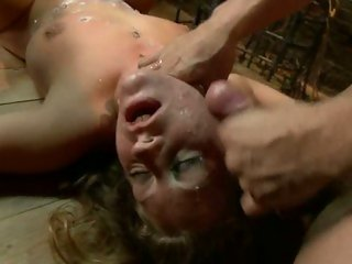 Fastened Lizzy London acquires her face drenched with spunk