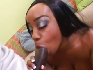 Ebony whore Sandi Jackman throat fucks a biggest boner