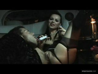 Fancy Brunettes Have A Nasty Threesome In A Limo