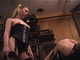 Dominant-bitch in Stockings Spanks Straps and Canes