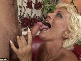 Horny grandma goes crazy hot with a young man's palpitating cock