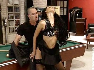 Billards bitch receives fucked and pees