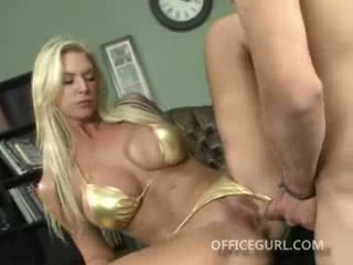 Blonde office slut fucking her way to a promotion