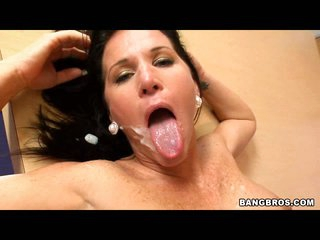 Kendra Secrets enjoys the warmth of new goo splattered on her mouth