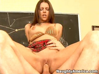Scorching hot Missy Stone rides a hard cock with her warm cookie on the table