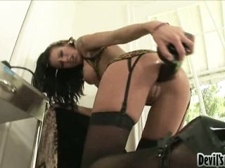 Cock craving whore Alyssa Reece plugs a black toy cock in her tiny hot hole