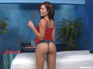 Masseuse Taylor T is a bad girl with sexy body. Playful brunette chick in tight panties shows off her round ass before flashing her small tits and neat pussy.