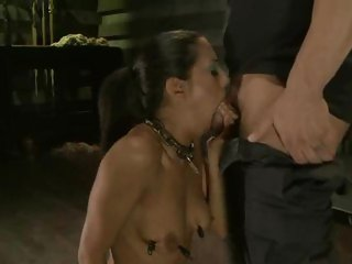 Dominated Layla Storm gets her slippery throat slammed