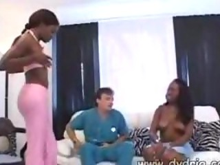 Doctor Makes House Call And Inspects Beautiful Ebony Girls Angel Eyes And Monique Probing Their Fuck Holes With His Boner