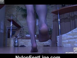 Odette A loving her nylon feet
