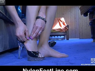 Laura showing her nylon feet