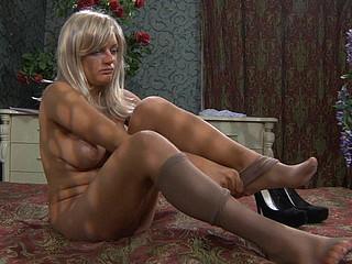 Gertie showing her nylon feet