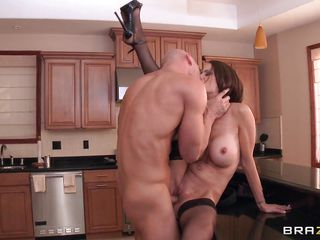 hardcore fuck in the kitchen with a bald guy