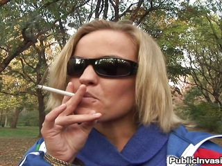 slutty blonde leaves her cigar for a cock