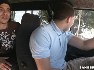 sweet redhead getting on the bang bus