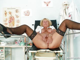 granny blonde nurse with big boobs masturbating at workplace