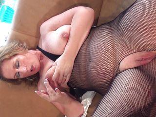 busty blonde slut masturbating and riding a dildo