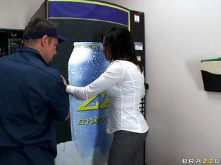 hot brunette fucking near a soda machine
