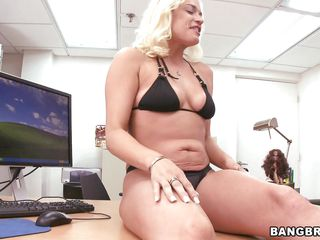 blonde milf fucks herself with a dildo