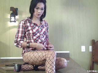 horny brunette shemale masturbating solo