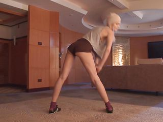 skinny blonde chick showing her moves and tits