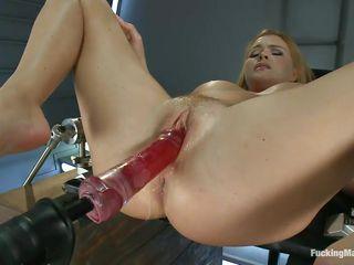 big boobs blonde milf enjoying her fucking machine