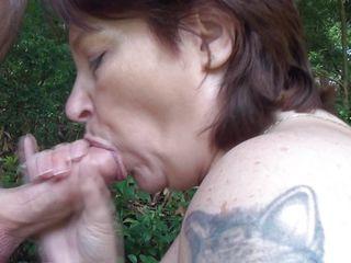 cock addictive mature whore sucking it outdoors