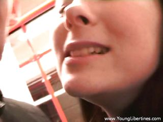 czech teen babe sucking in the subway