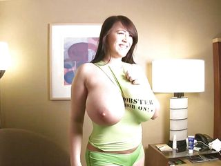 t-shirt barely holds her huge boobs