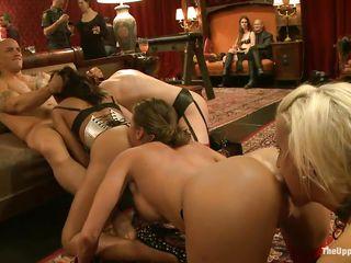 four horny girls pleasuring white man