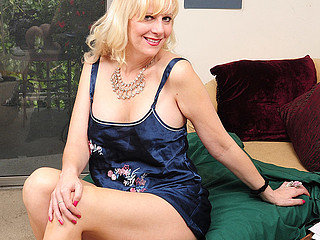Horny blond housewife playing with herself