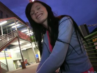 Cute Timea gets her luscious pussy pounded inside a car