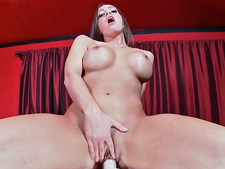 Abigail Mac fooling around with face cock during hot masturbation