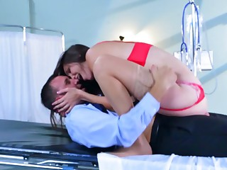 Hairy pussy Holly Michaels fucked in a lingerie set
