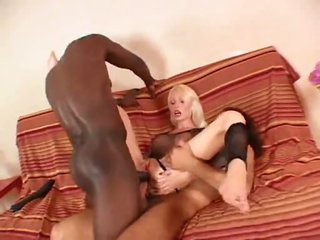 Breasty slut in fishnet top does anal threesome