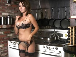 Busty Brunette hair Chrissy Marie Getting Naked In The Kitchen