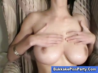 Breasty cock loving slut blowjob