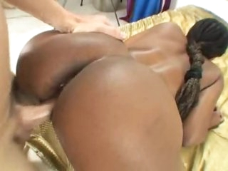 Black girl and the white cock have sex