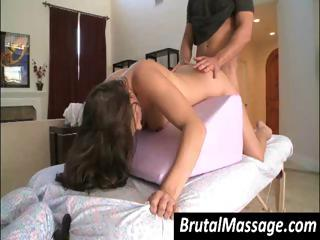 Hot brunette goes in for a massage and gets the meat pole